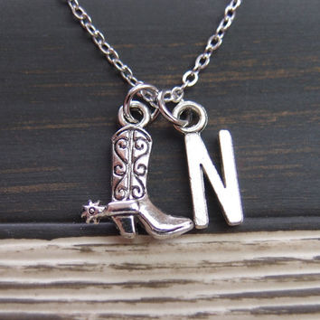 initial necklace, cowboy boot necklace, cowgirl necklace, cowgirl jewelry, country necklace, cowgirl boots, country girl necklace, western