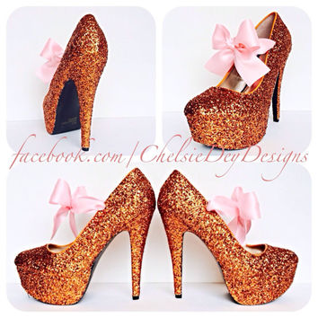 Orange Glitter High Heels w/ pink bow