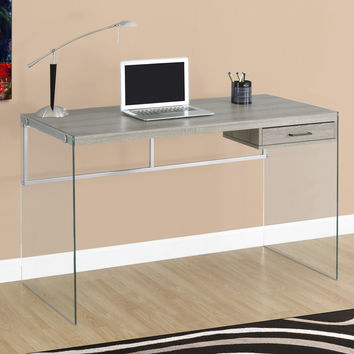 "Computer Desk - 48""L / Dark Taupe / Tempered Glass"