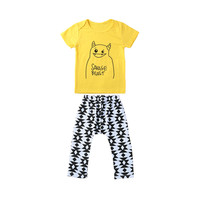 "Yellow ""Savage Beast"" Top Printed Pants Baby Clothes Set"