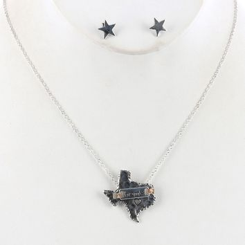 State Of Texas Aged Finish  Star Heart Home Necklace Earring Set