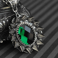 Gothic/dark victorian glass cabochon necklace with spikes - emerald green - unisex jewelry