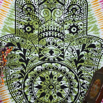Indian Fatima Hand Tapestry Wall Hanging Throw Tie Dye Hippie Boho Bohemian Mandala wall tapestries Hand-Loomed Window Doorway Door Curtain
