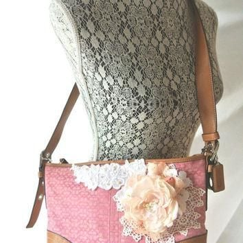 Pink Coach purse, shabby embellished handbag, cottage floral shoulder bag, leather, vi