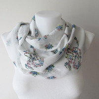 White Floral Pattern Chiffon Infinity Scarf, Women Circle Scarf, Loop Scarf, Mothers Day, Fall Winter Spring Summer Fashion, Gift for Her