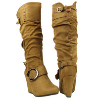 Womens Knee High Boots Cuff Studs Slouchy Wedge Comfort Shoes Tan SZ