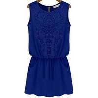 Partiss Womens Sleeveless Lace Chiffon Dress