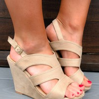 Take Me Anywhere Wedges: Nude