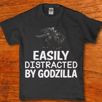 Easily Distracted by godzilla adult unisex t-shirt