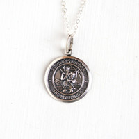 Vintage St. Christopher Be My Guide Sterling Silver Pendant Necklace - Retro 1960s Religious Repoussé Saint Catholic Coin Style Beau Jewelry