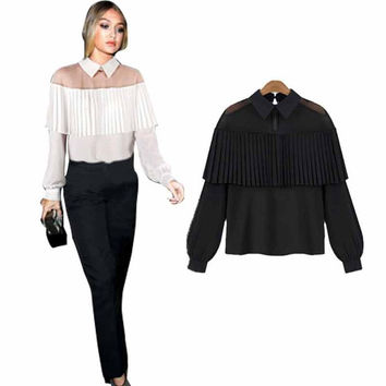 Autumn White Blouse Shirt 2016 Women Chiffon Blouse Pleated Tops Long Sleeve Blouse Kimono Sheer Gauze Feminine Blusas Plus Size