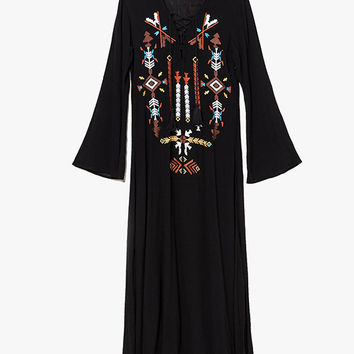 Black Floral Embroidered Bell Sleeve Maxi Dress