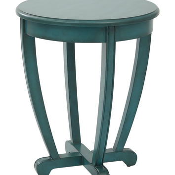 OSP Designs Tifton Round Accent Table Blue Finish,