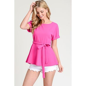 Short Sleeve Sash Top - Fuchsia