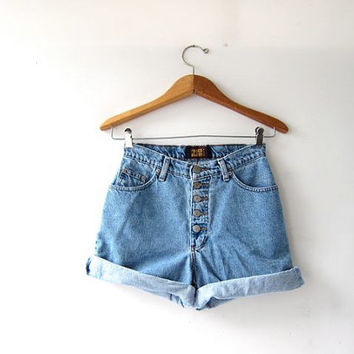 Vintage jean shorts. High waist denim shorts. Button fly jean shorts.