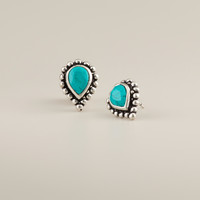 Turquoise Stone Tribal Teardrop Stud Earrings