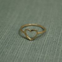 Gold ring. hart gold band. trendy Hart gold ring, trendy jewelry, gold jewelry, dainty ring, gift for her.