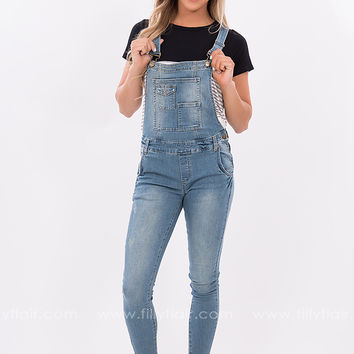 Travel Often Light Washed Overalls