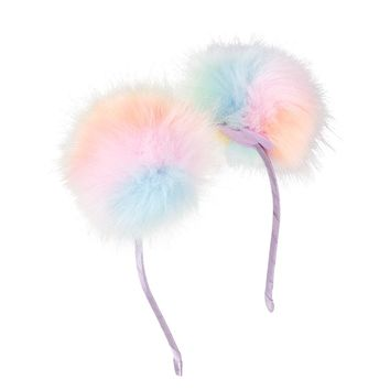 Girls Faux Fur Rainbow Pom Pom Headband