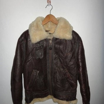 15% OFF Sale Rare Vintage SCHOTT Bomber Leather Shearling Jacket Size 34 TYPE B-3 Made In Usa New York Schott Bros Inc Classic Retro Cafe Ra