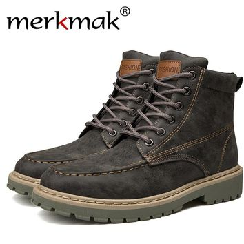 Merkmak Split  Leather Men Ankle Boots Vintage Lace Up High Top Shoes Fashion Winter Autumn Warm  Boots Casual Outdoor