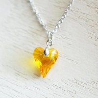 wild heart pendant, swarovski heart necklace, bridesmaid necklace, citrine yellow heart necklace, friend gift, couple gift, silver necklace