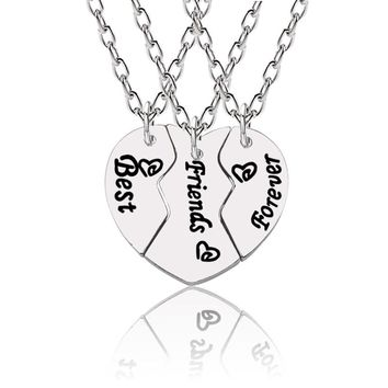 Trendy Broken Love Heart Necklace For Women Best Friends Forever Pendant BBF 3Pcs/Set Necklaces&Pendants Unisex Drop Shipping
