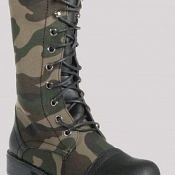 Nature Breeze LUG-11F-8-3 Camo Lace Up Combat Boots   Women Boots CAMOUFLAGE Bare Feet Shoes