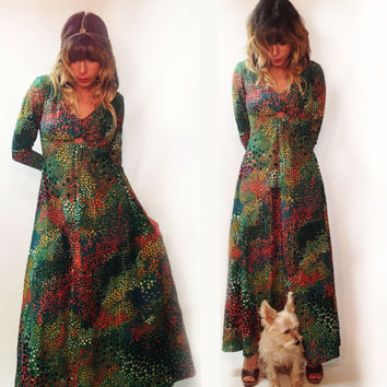 Vintage 1960s 1970s Metallic Polka Dot Disco Boho Maxi Dress || Size Small Size 4 Size Small