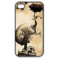 Aokdis New Hot Fashional Individualized Hard Case Back Cover for Iphone 4 4g 4s (Skulls and Roses)