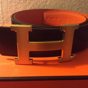BLACK ,ORANGE HERMES REVERSIBLE LEATHER BELT KIT CONSTANCE H BUCKLE 95cm NEW