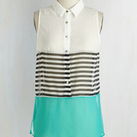 Colorblocking Mid-length Sleeveless Haute Commodity Top in Aqua by ModCloth