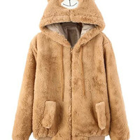 Brown Faux Fur Long Sleeve Hooded Beer Coat
