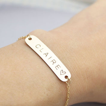 Dainty Personalized Large Bracelet, Nameplate Bracelet, Holiday gift, Bridesmaid Gift