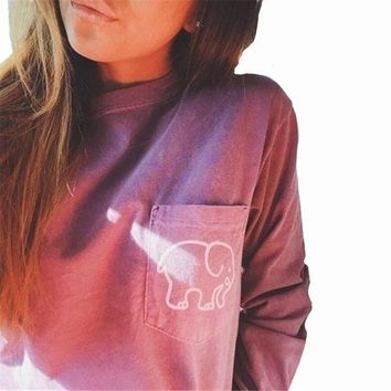 2017 women's Summer Casual Tops Tees Ivory Ella Elephant Long Sleeve t-shirts For Women