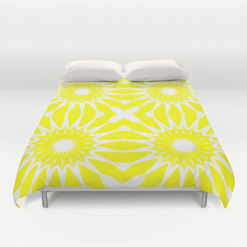 Yellow Flowers Duvet Cover by 2sweet4words Designs