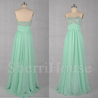 Sequins Sweetheart Strapless Empired Long Bridesmaid Celebrity dress ,Floor Length Chiffon Evening Party Prom Dress Homecoming Dress