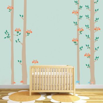 cik1682 Full Color Wall decal bedroom children's Custom Baby Nursery tree nusery decal tree forest owl birds baby girl