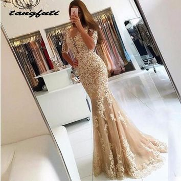 Champagne Lace Evening Dresses Party 2018 Tulle Mermaid Half Sleeves Sexy Backless Prom Dress Illusion Women Evening Gown