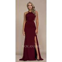 Burgundy Halter Cut Out Long Prom Dress Strappy Back with Slit