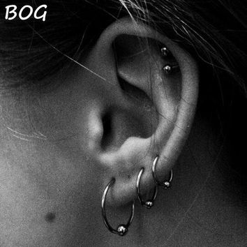 ac ICIKO2Q 3 Pairs Extra Large Size Surgical Steel Captive Bead Ring Hoop Ring Ear Tragus Cartilalge Piercing Body Jewelry Earring 16g 14g