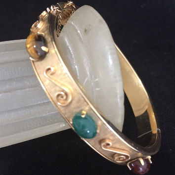 Krementz Carved Scarab Bangle Bracelet 14k Gold Overlay Egyptian Revival Mid Century Vintage Jewelry Tigers Eye Carnelian Chrysoprase 418
