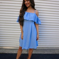 Blue Button Up Dress - These Three Boutique