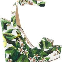 Dolce & Gabbana Floral Printed Wedge Sandal