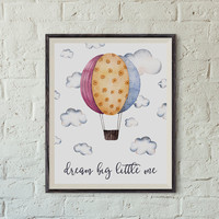 Printable Nursery Art, Nursery Decor, Be Brave Little one, Hot Air Balloon in the Clouds, Instant Download, 8x10 In, Nursery Print, Baby