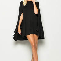 Magical Maven Black Cape Dress