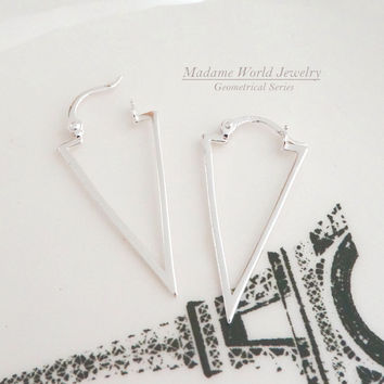 Plain Inverted Triangle Earrings with Latch Back