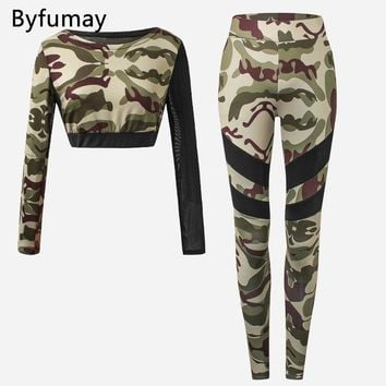 Byfumay Yoga Suit Tank Top Long Sleeve Tight Pants Running Training Yoga Women Sports Wear Vest Long Trousers Outfit Camo K004
