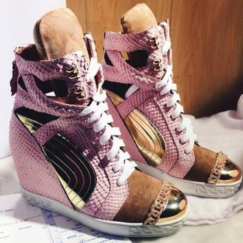 Patchwork Height Increasining Women Casual Shoes Autumn Wedges Shoes Genuine Leather Pink Bootie Lace Up Platform Shoes Women