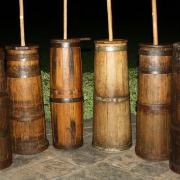 Antique Staved Wooden Country Butter Churns: Old Primitive Churners!